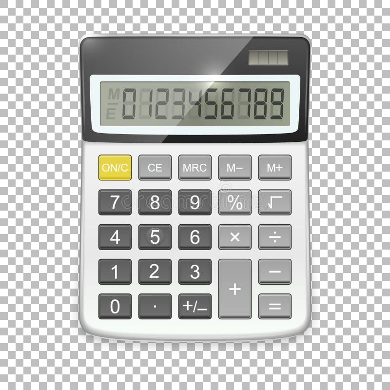 Wektorowa realistyczna kalkulator ikona odizolowywająca na przejrzystym tle, projekta szablon w EPS10 ilustracji
