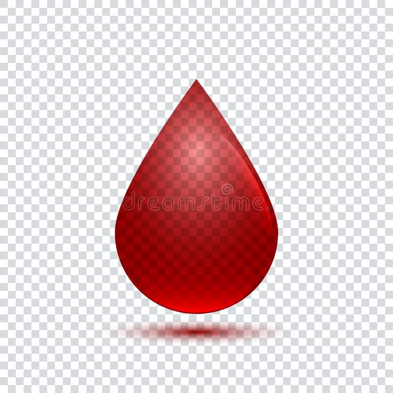 Wektorowa realistyczna krwi kropli ikona royalty ilustracja