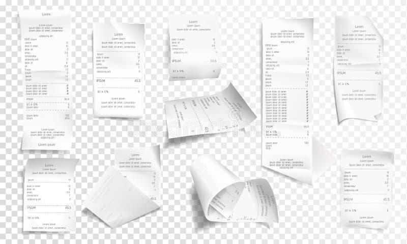 Wektorowa realistyczna kwit kolekcja, rachunek lub czek, ilustracji