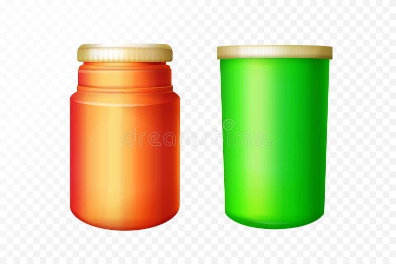 Wektorowa realistyczna medyczna czerwień, zieleni butelki ustawiać royalty ilustracja