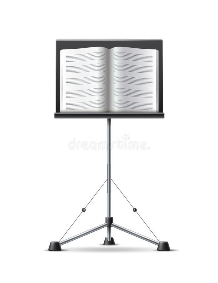 Wektorowa realistyczna muzyczna notatki książka na muzycznym stojaku royalty ilustracja