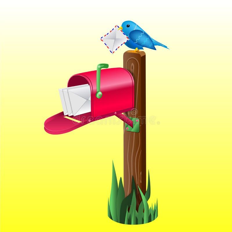 Wektorowa realistyczna skrzynka pocztowa i ptak ilustracji