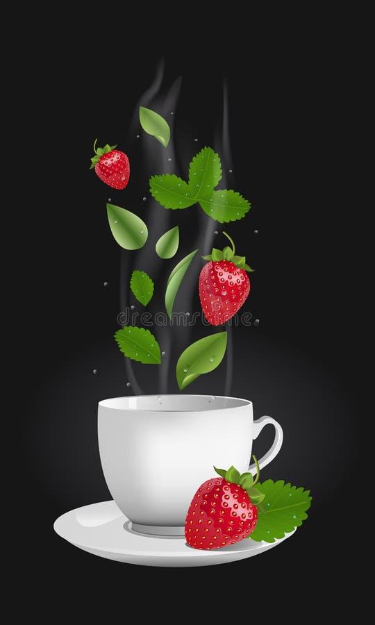 Wektorowa realistyczna truskawkowa herbata ilustracja wektor