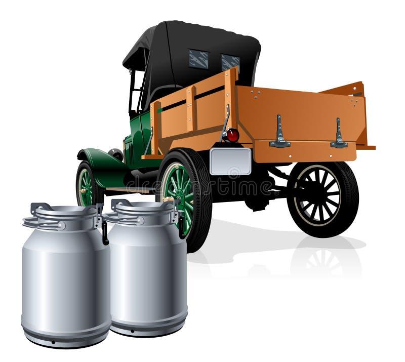 Wektorowa retro dostawy mleka ciężarówka royalty ilustracja