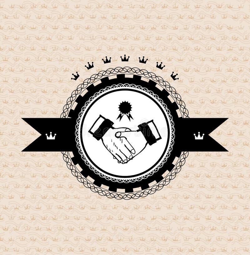 Wektorowa retro etykietka: stylizowany uścisk dłoni ilustracji