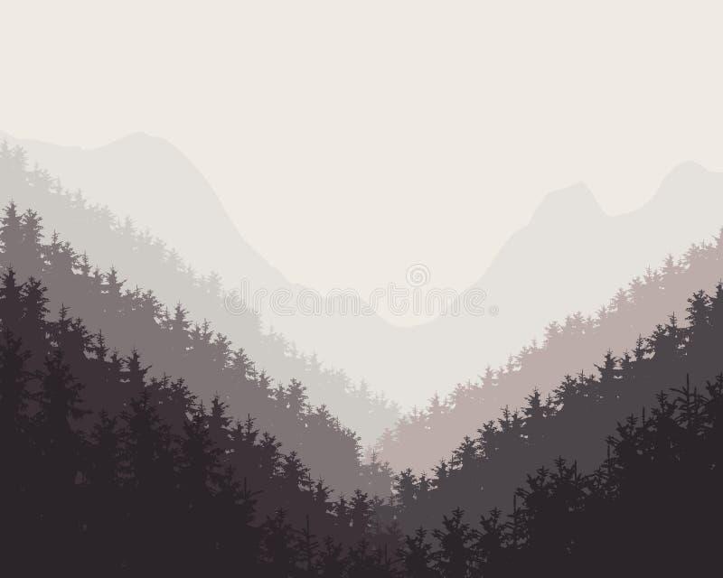 Wektorowa retro ilustracja zimy lasowi mgławi tła royalty ilustracja