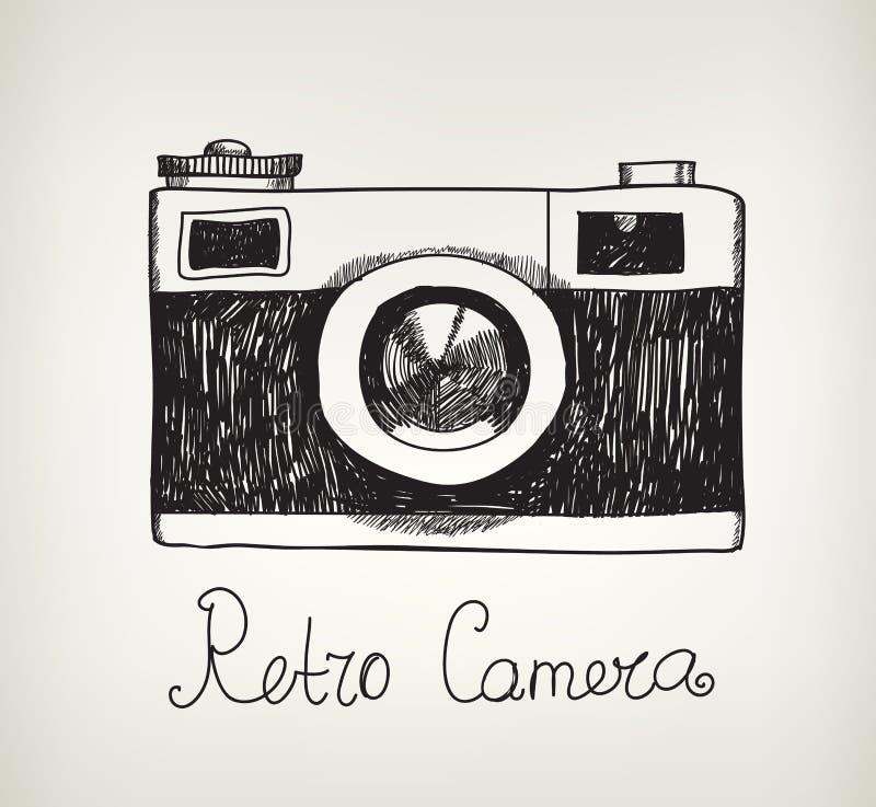 Wektorowa retro ręka rysująca modniś fotografii kamera