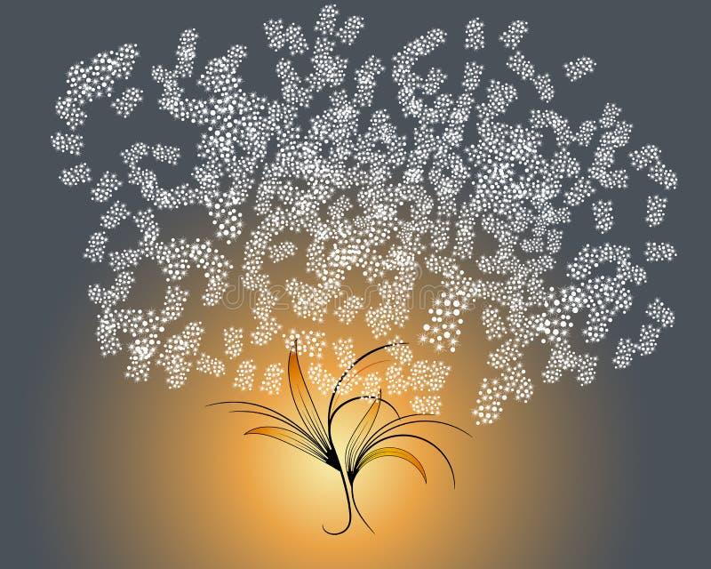 Wektorowa roślina na ciemnym tle z girlandą z ciepłymi żółtymi światłami Ciemna roślina zakrywająca z białym śniegiem ilustracja wektor