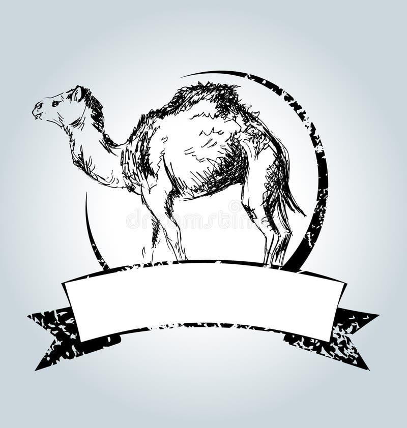 Wektorowa rocznik etykietka z wielbłądem ilustracja wektor