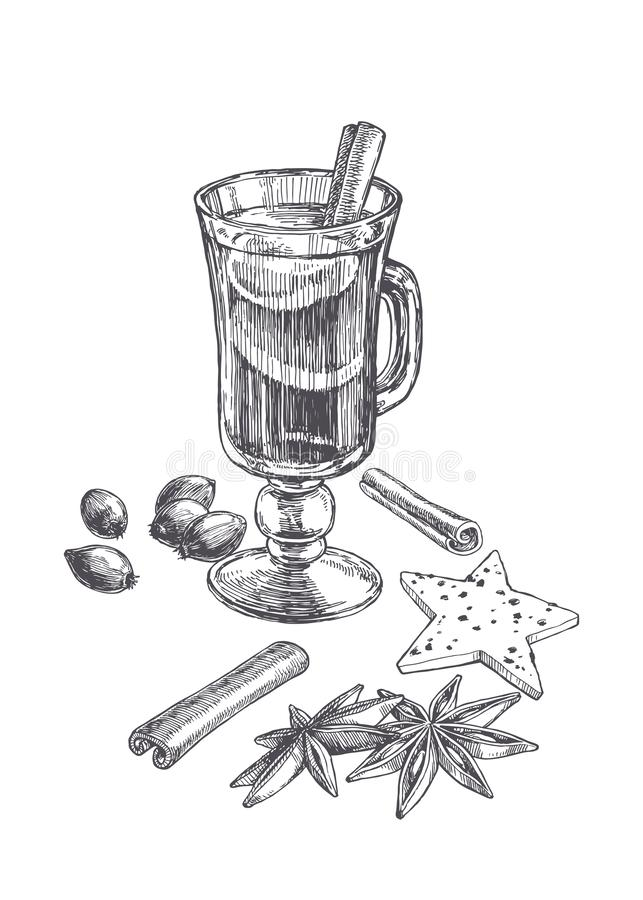 Wektorowa rocznik ilustracja rozmyślający wino w wineglass z składnikami odizolowywającymi na bielu Ręka rysujący nakreślenie nap ilustracji