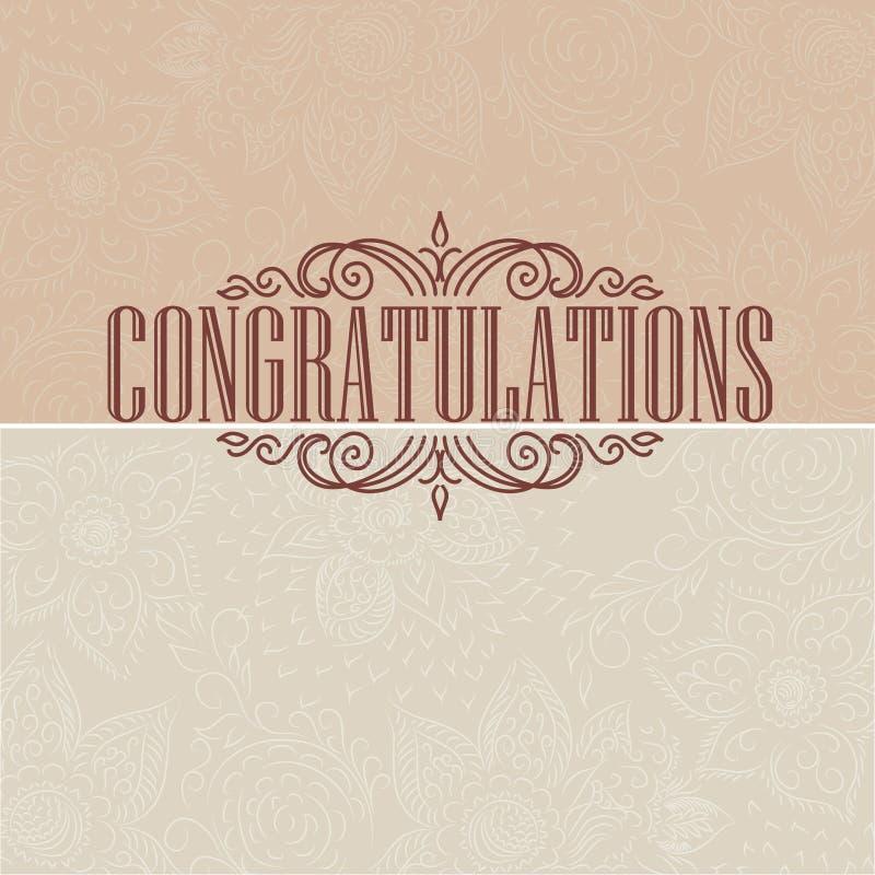 Wektorowa rocznik karta Gratulacje karta ilustracji