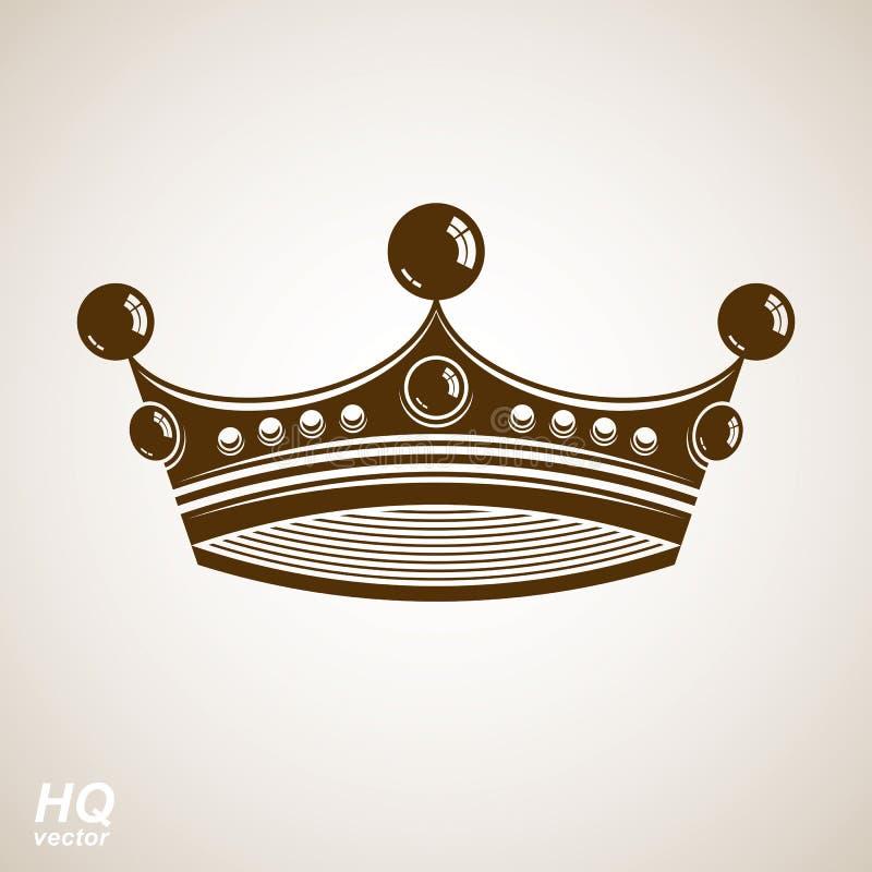 Wektorowa rocznik korona, luksusowa ozdobna coronet ilustracja ilustracji