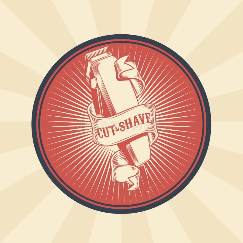 Wektorowa rocznik odznaka, majcher, znak dla fryzjera męskiego sklepu z włosianym cążki royalty ilustracja
