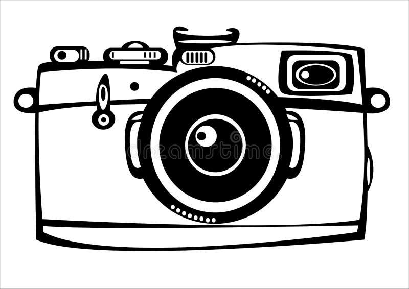 Wektorowa rocznika filmu fotografii kamera odizolowywająca na bielu ilustracji