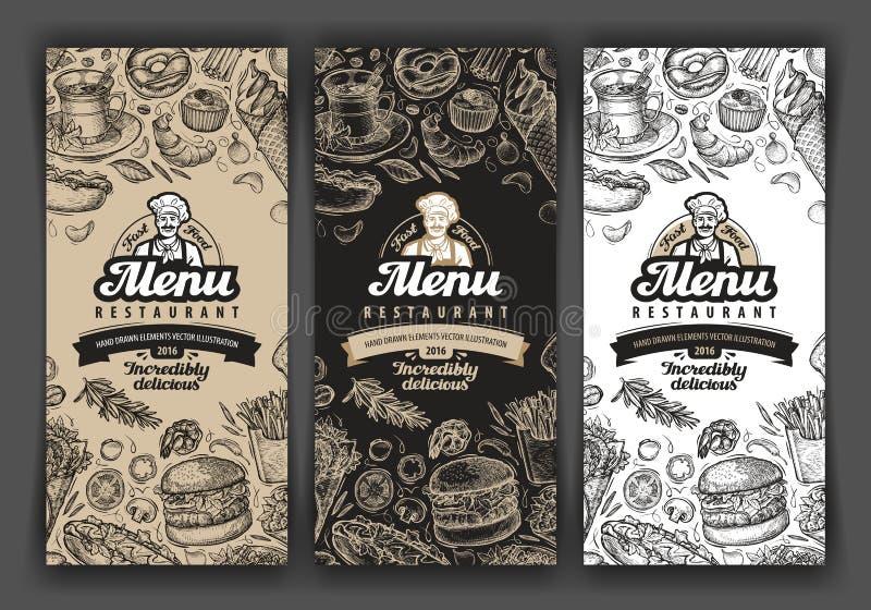 Wektorowa rocznika nakreślenia jedzenia ilustracja projekta szablonu menu pokrywy dla restauraci lub kawiarni, knajpa, gość resta ilustracja wektor