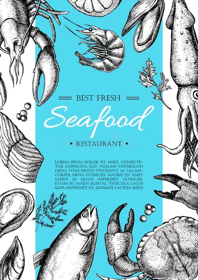 Wektorowa rocznika owoce morza restauraci ulotka ilustracja wektor