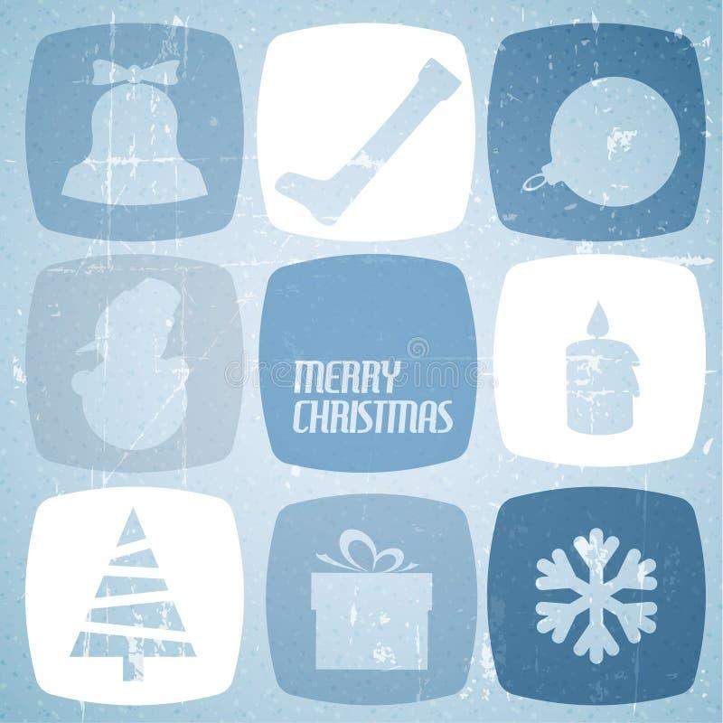 Wektorowa Rocznika wektoru kartka bożonarodzeniowa ilustracja wektor