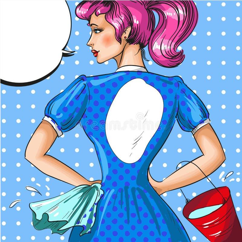 Wektorowa rocznika wystrzału sztuki ilustracja cleaning kobieta ilustracja wektor