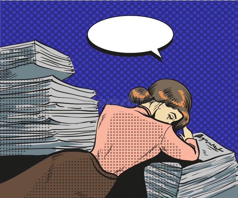 Wektorowa rocznika wystrzału sztuki ilustracja zmęczony bizneswoman ilustracji