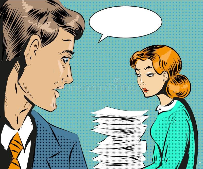Wektorowa rocznika wystrzału sztuki ilustracja zmęczony bizneswoman ilustracja wektor