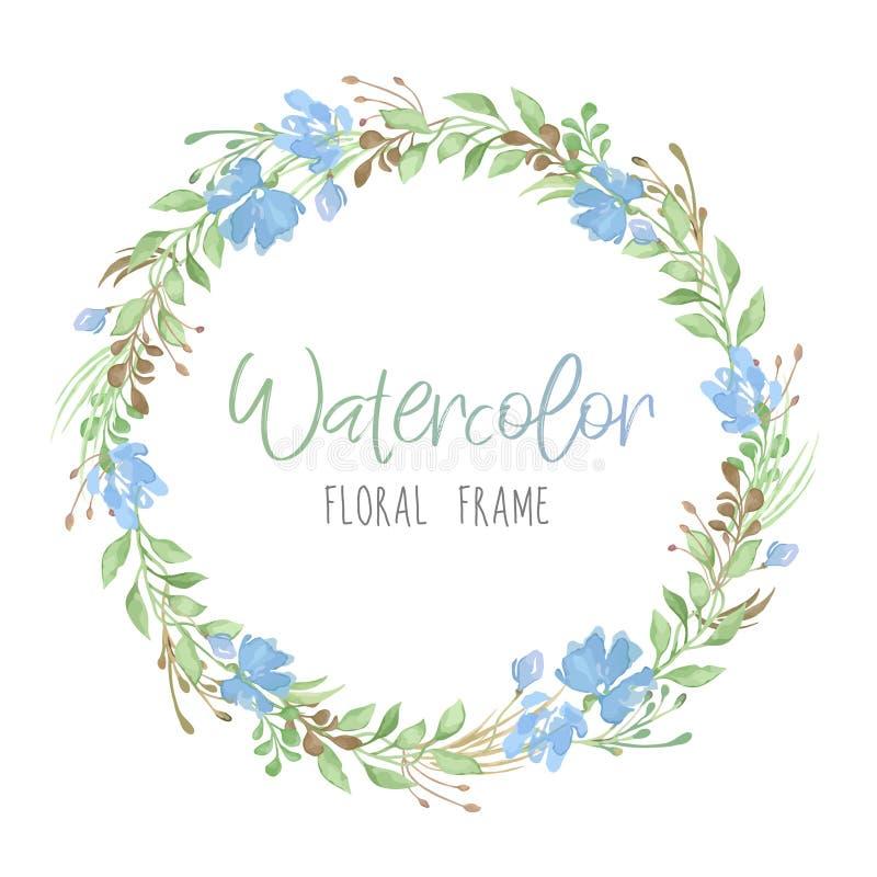 Wektorowa romantyczna kwiecista round rama z zielenią opuszcza w akwarela stylu odizolowywającym na białym tle i błękitni kwiaty royalty ilustracja
