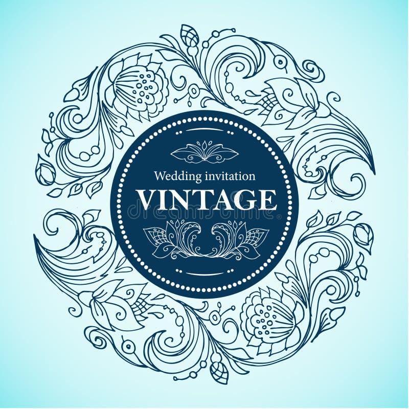 Wektorowa round kwiecista rocznik rama Grafika kreskowych rysunków kwiecisty ornament dla reklamować rabaty, zaproszenia, kartka  royalty ilustracja