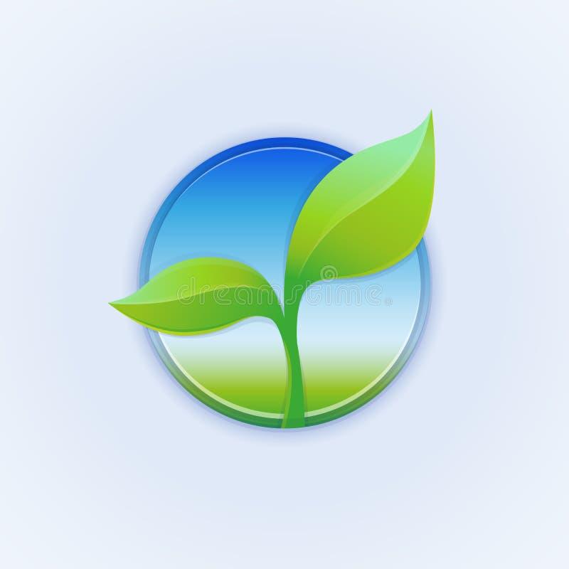 Wektorowa round odznaka z zielonymi liśćmi ilustracja wektor