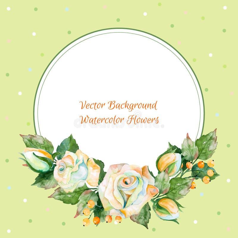 Wektorowa round rama bielu inny i róża Akwarela wianek royalty ilustracja