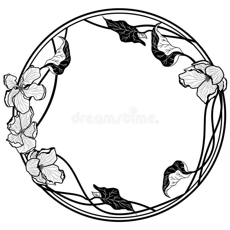 Wektorowa round rama z jabłczanymi kwiatami royalty ilustracja