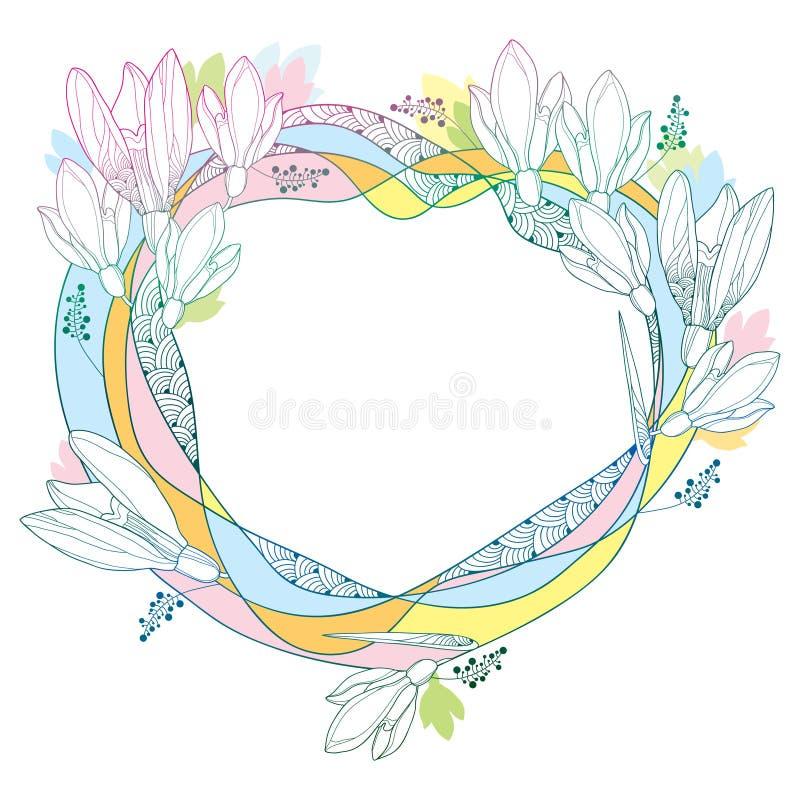 Wektorowa round rama z ozdobnymi śnieżyczka kwiatami lub Galanthus w pastelowych kolorach odizolowywających na bielu plecy Kontur ilustracja wektor