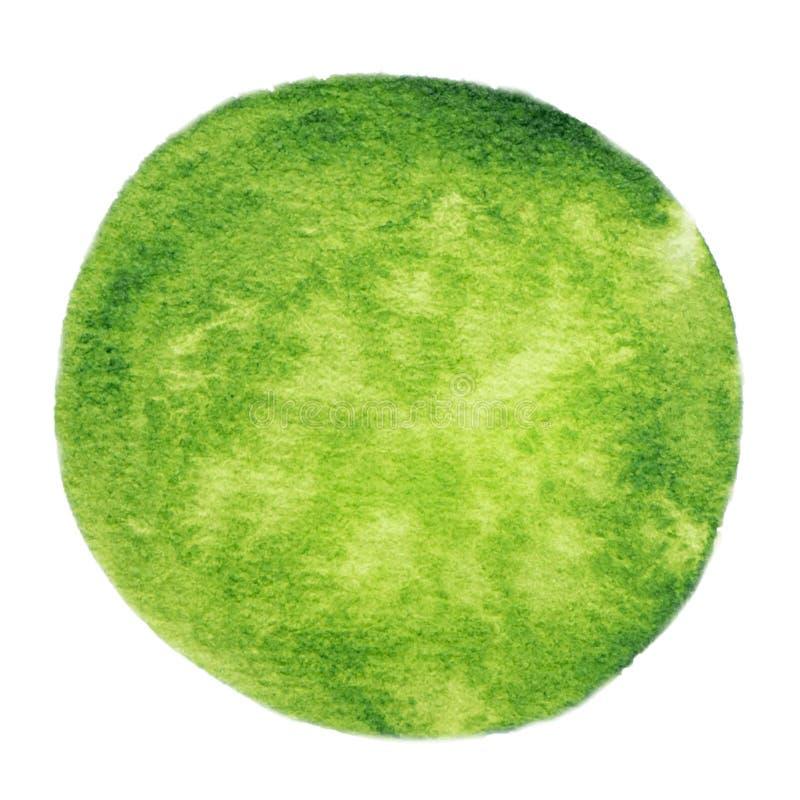 Wektorowa round zieleni akwareli farby tekstura odizolowywająca na bielu ilustracji