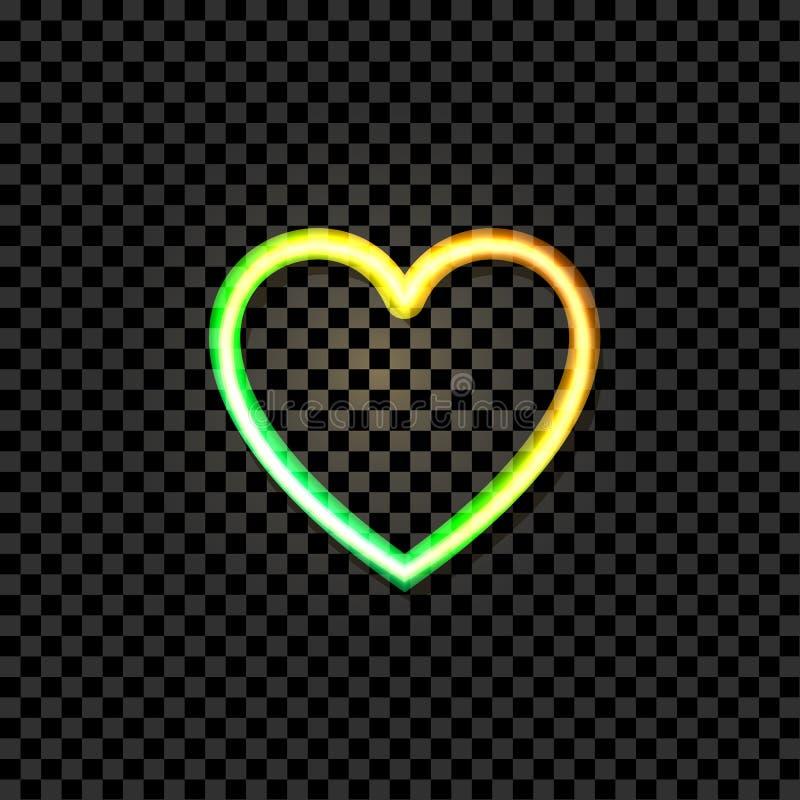 Wektorowa Rozjarzona Kierowa ikona, Neonowy Illustraton, kolor żółty i Zieleni Jaskrawi kolory, przedmiot Odizolowywający ilustracja wektor