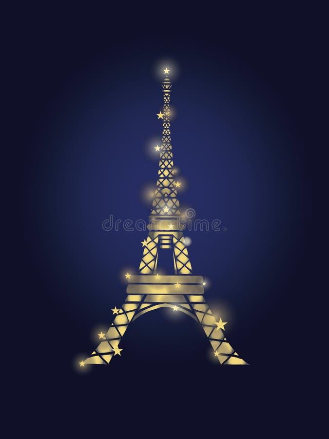 Wektorowa Rozjarzona Złota wieża eifla w Paryskiej sylwetce Przy nocą Francuski punkt zwrotny Na zmroku - błękitny tło royalty ilustracja
