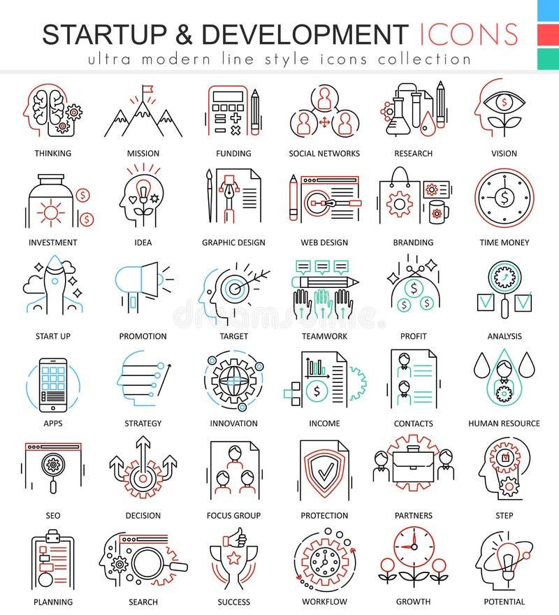 Wektorowa rozpoczęcia i rozwoju koloru linia zarysowywa ikony dla apps i sieć projekta royalty ilustracja