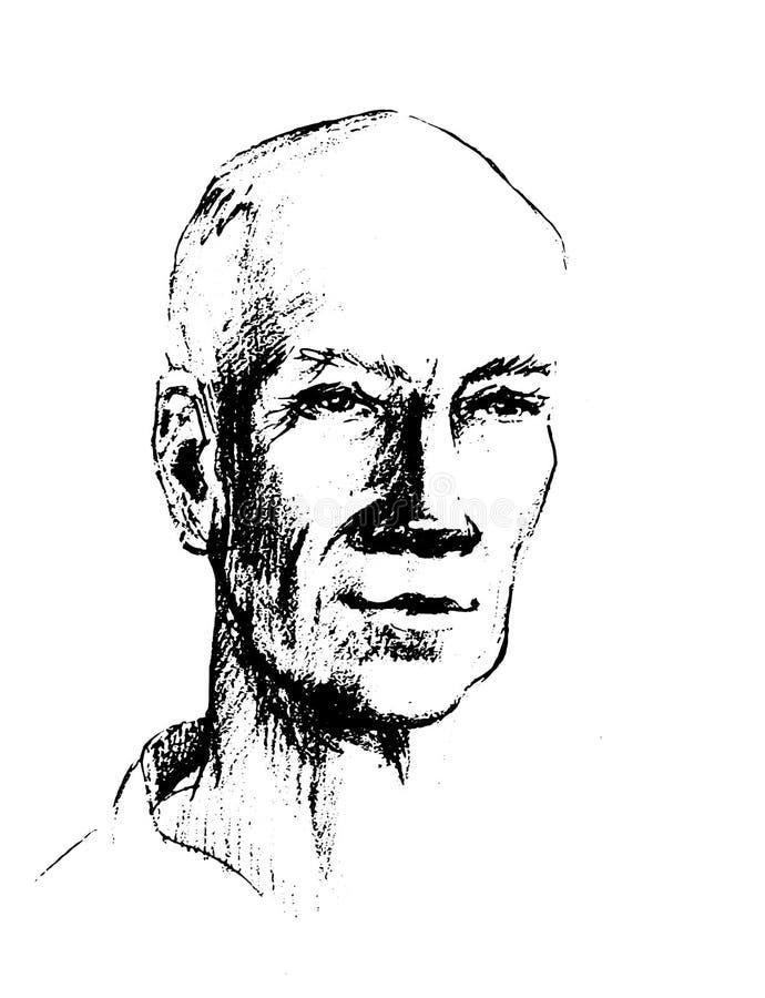 Wektorowa Rysunkowa ilustracja mężczyzna twarz Głowa dorosły maluje z ołówkiem Ojczulka s starego człowieka s mąż royalty ilustracja