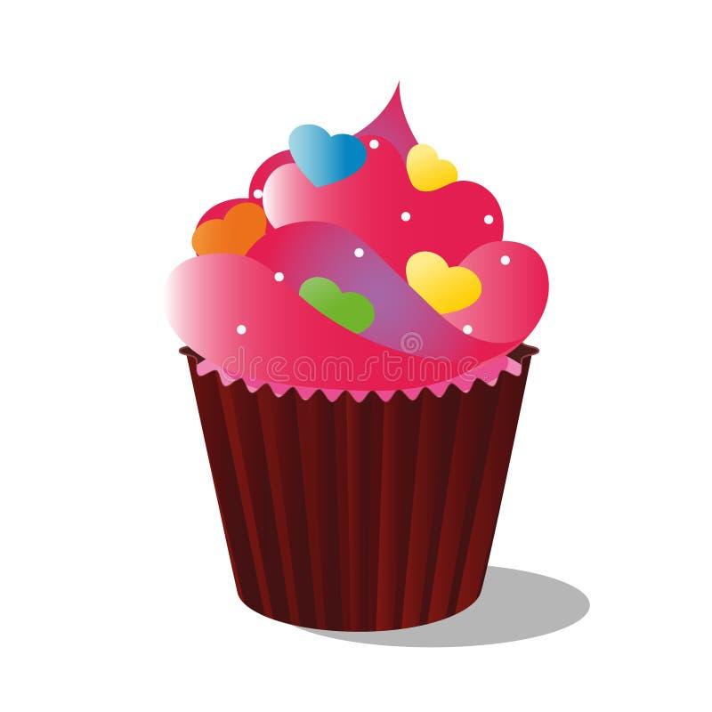 Wektorowa rysunkowa kolorowa babeczka dekoruję z wystrojem, śmietanką i czekoladą, na białym tle zdjęcia stock