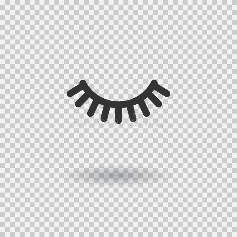 Wektorowa rzęsa Bat ikona Zamknięty oko z cieniem również zwrócić corel ilustracji wektora ilustracja wektor