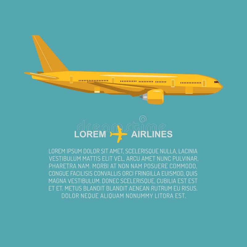 Wektorowa samolotowa ilustracja w mieszkanie stylu Latający dżetowy tło Cywilny i ładunek lotnictwa plakatowy pojęcie z tekstem ilustracja wektor