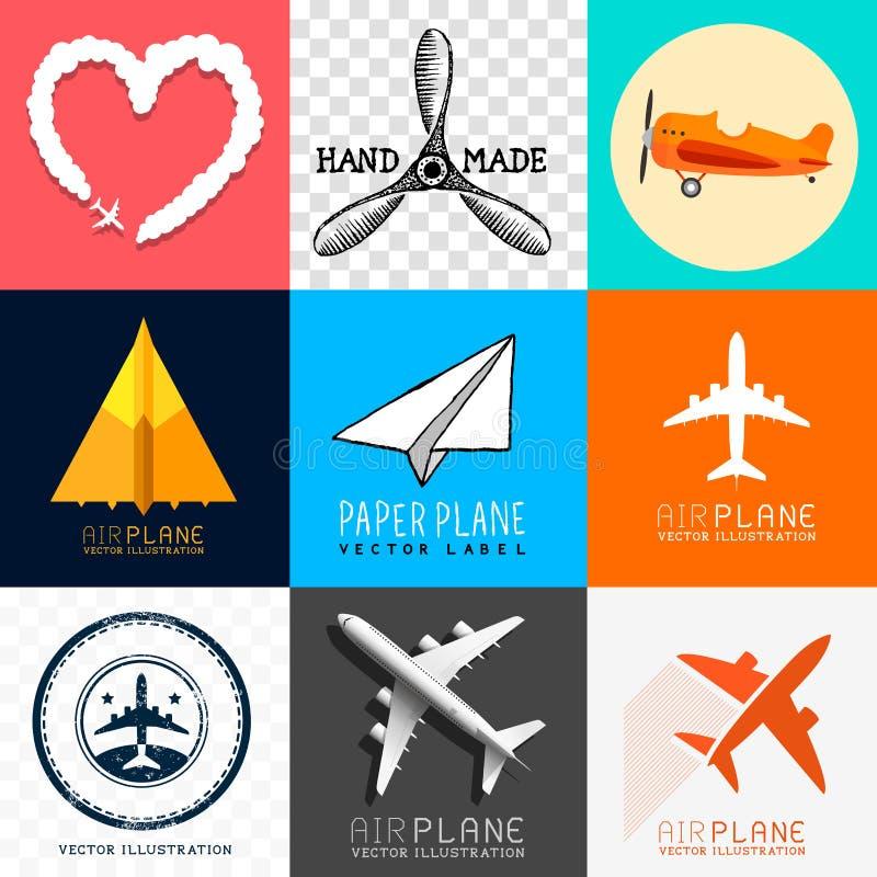 Wektorowa Samolotowa kolekcja ilustracji