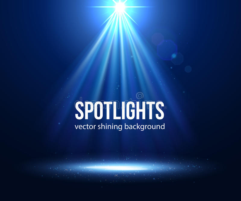 Wektorowa scena iluminujący światło reflektorów Ciemny światło reflektorów ilustracji