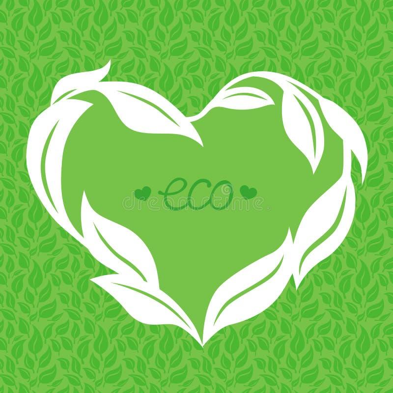 Wektorowa serce rama robić od zielonych liści ilustracji