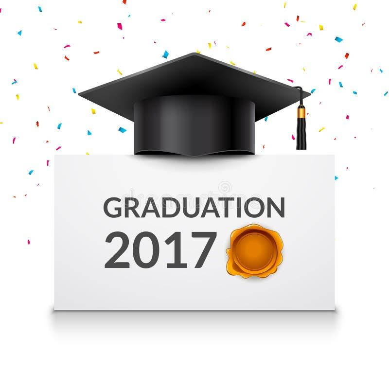 Wektorowa skalowanie 2017 ceremonia z edukacja kapeluszem Magisterski pojęcie ilustracji