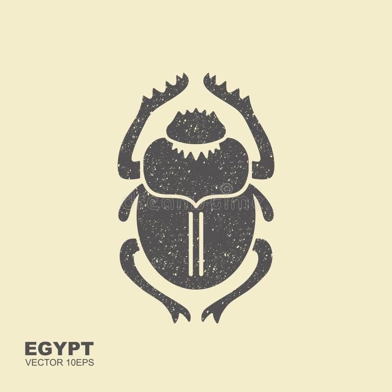 Wektorowa skarabeusz ściga starożytnego Egiptu Płaska ikona ilustracja wektor