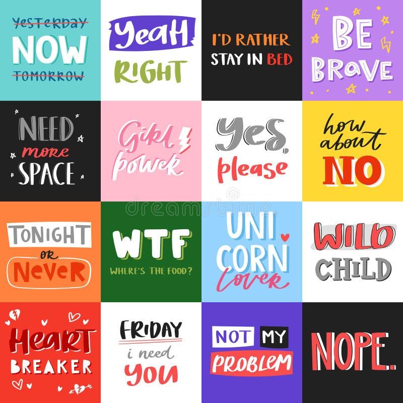 Wektorowa slogan wycena frazuje typografii literowania ilustracyjną printable wiadomość Typografia dla koszulek grafika, druk ilustracji