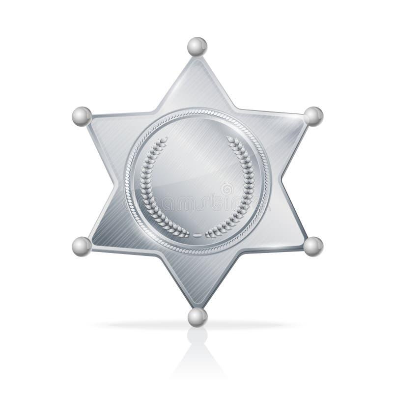 Wektorowa srebrzysta szeryf odznaki gwiazda pusta ilustracji