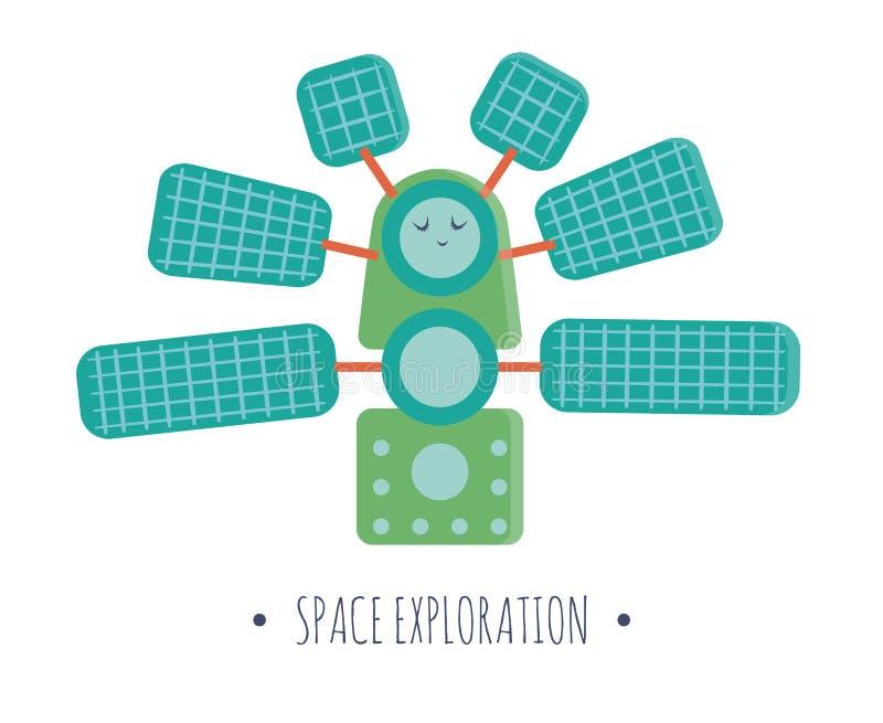Wektorowa stacji kosmicznej ilustracja dla dzieci royalty ilustracja