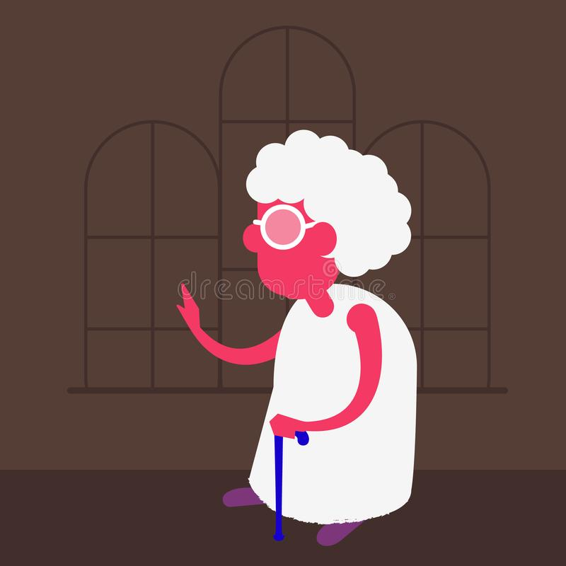 Wektorowa stara kobieta Ilustracja prawdziwy stary człowiek royalty ilustracja
