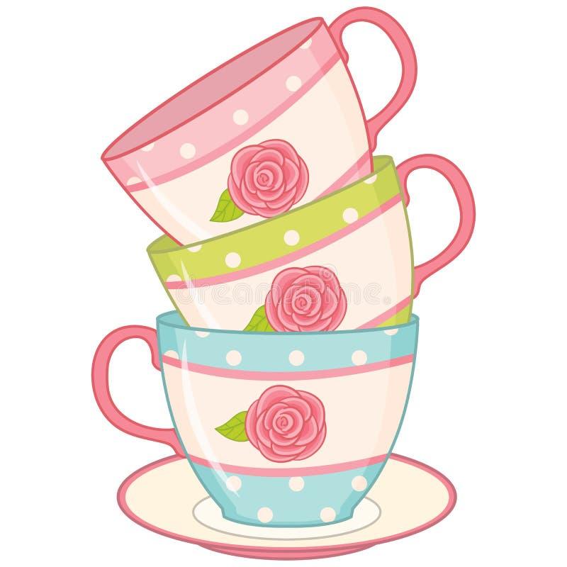 Wektorowa sterta Herbaciane filiżanki Herbacianych filiżanek wektoru ilustracja ilustracja wektor