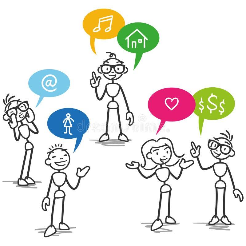 Wektorowa stickman kija postaci rozmowy komunikacja ilustracji