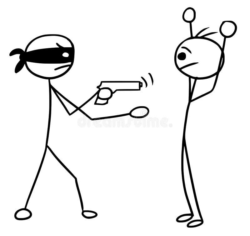 Wektorowa Stickman kreskówka Dwa mężczyzna Podczas rabunek z bronia w ręku, atak, royalty ilustracja